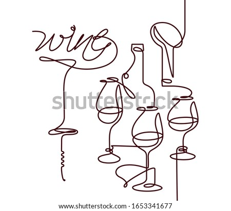 """Wine glass, bottle, and corkscrew with lettering """"wine"""". Single line icon in modern style. Design element for wine tasting, menu, wine list, restaurant, winery, liquor shop. Continuous line."""