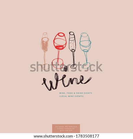 Wine glass drawings for lettering bar emblem and wine label design. Vector draft — four wine glasses. Pencil texture for bio winery icon, wine tasting course, wines menu card on light pink background.