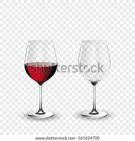 Wine glass, empty and with red wine, transparent vector illustration, eps 10, isolated