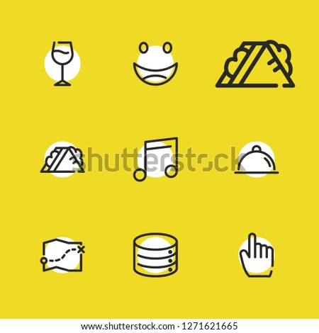 Wine glass icon with map, datacenter and smile symbols. Set of food, server, quaver icons and laugh concept. Editable vector elements for logo app UI design.