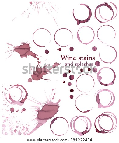 Wine glass or cup stains isolated on white, vector