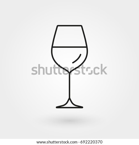 Wine glass outline icon. Vector illustration.