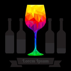 Wine glass polygon template, illustration vector design.