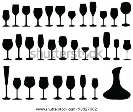 wine glass silhouettes, vector