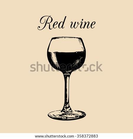 wine glass sketch vector glass