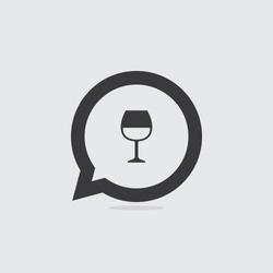 Wine Glass Speech Bubble Icon