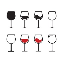 Wine glass vector icon set