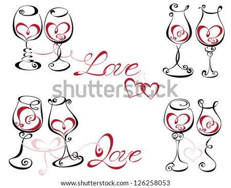 Wine glass with red wine in a heart shape