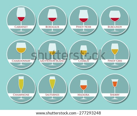 wine glasses icon set made in