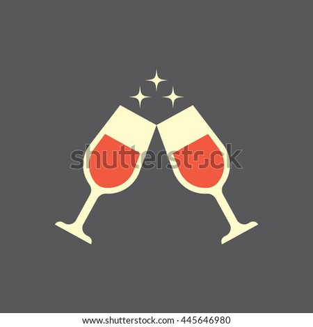 wine glasses icon toast