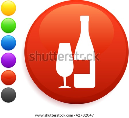 wine icon on round internet button original vector illustration 6 color versions included