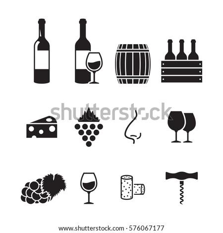 Wine icons set. Black on a white background