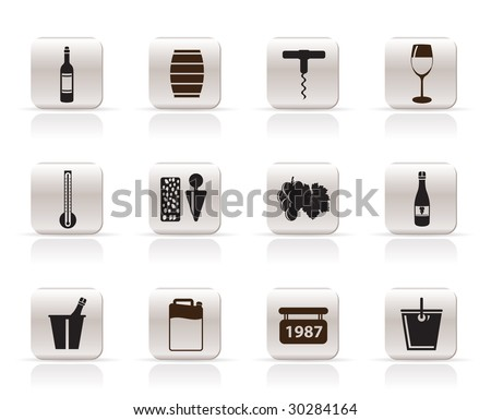 Wine Icons - Vector Icon Set - stock vector