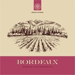 wine label, vineyard landscape hand drawn illustration