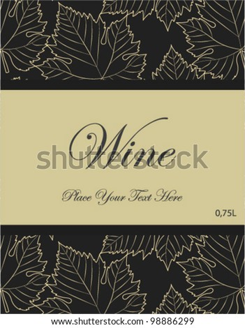 wine label with grey leaves background