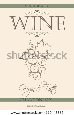 wine label with illustration of grape