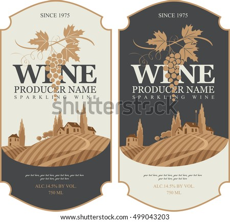wine labels set with a