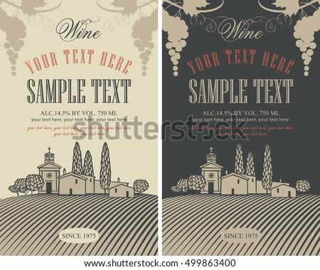 wine labels set with a...