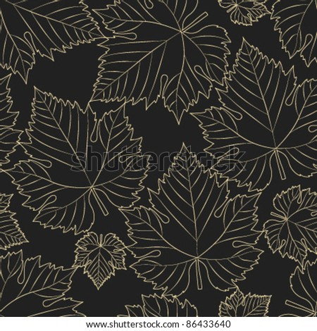 wine leaf grey seamless pattern