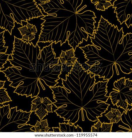 wine leaf yellow on black