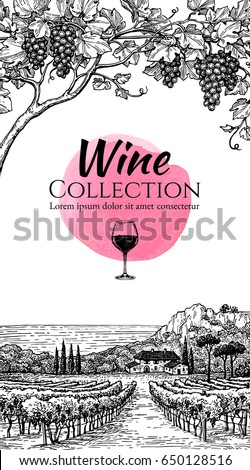 Wine list design template. Hand drawn vine grapes and vineyard landscape. Countryside scenery. Text on watercolor spot. Vintage style vector illustration.