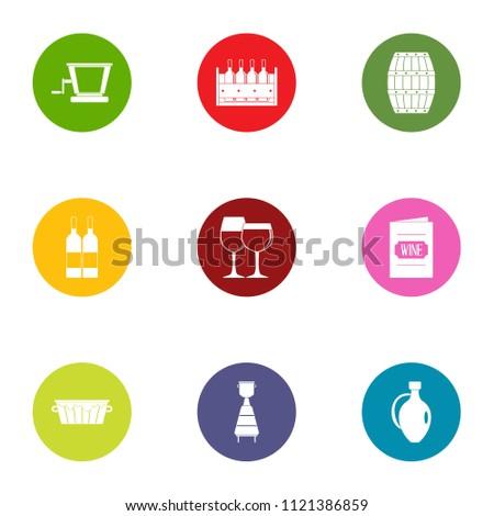 wine list icons set flat set