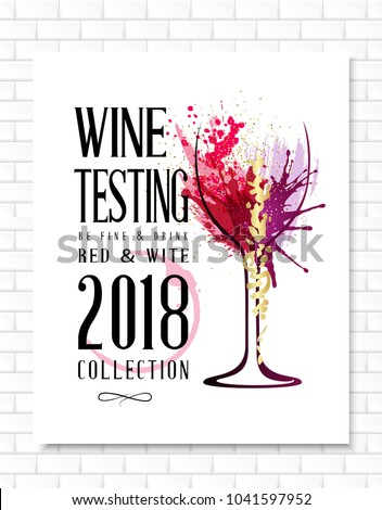 Wine list template for bar or restaurant menu design. Creative artistic background with color paint splashes and wineglass.