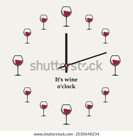 wine o'clock vector design funny print Foto stock ©