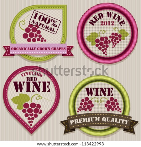 Wine patchwork labels.