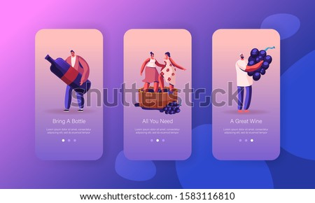 Wine Producing and Drinking Mobile App Page Onboard Screen Set. Characters Grow Organic Grapes and Produce Natural Vine Production Concept for Website or Web Page. Cartoon Flat Vector Illustration