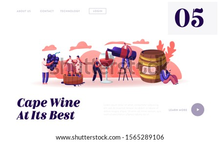 Wine Producing and Drinking Website Landing Page. Man with Bottle Pouring Alcohol Drink to Glass Characters Grow Grapes Produce Natural Vine Production Web Page Banner Cartoon Flat Vector Illustration