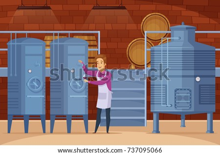Wine production equipment in winery facility cellar with winemaker tasting and evaluating product cartoon composition vector illustration