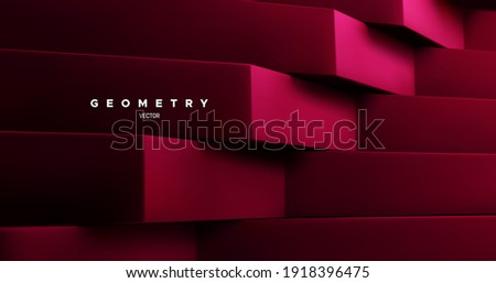 Wine red architectural background. Abstract geometric backdrop. Vector 3d illustration. Minimalist interior decoration. Brutal geometry. Stepped shapes