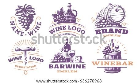 Wine set logo - vector illustrations, emblems design.