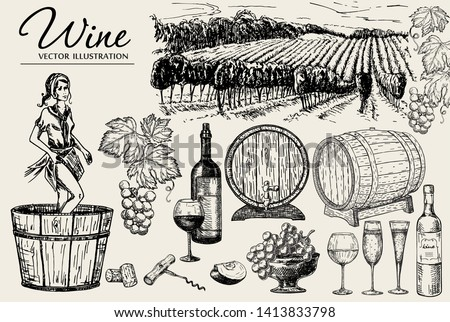 Wine set sketch. Vector hand drawn elements including wine glass, bottle, grape, vineyard landscape, barrel with wine. Young woman crushing grapes with legs for wine making.