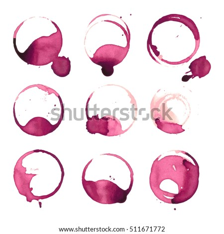 Wine stain spots watercolor splashes cup vector isolated on white background. Red alcohol bottle or glasses cup spot stain grunge liquid watercolor design elements