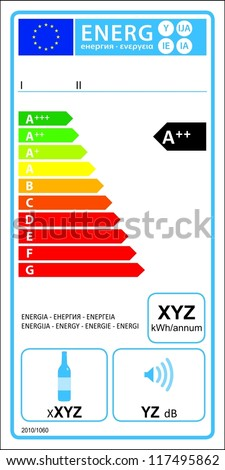 Wine storage appliances new energy rating graph label in vector.