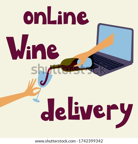 Wine store online delivery service. Hand with a bottle of a red wine filling a glass. Online store, delivery, order. Isolated vector illustration. Safe online wine store delivery during quarantine.