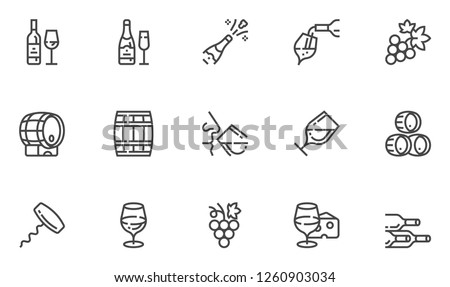 Wine Vector Line Icons Set. Winery, Wine Production, Degustation, Bunch of Grapes, Glass of Wine. Editable Stroke. 48x48 Pixel Perfect.