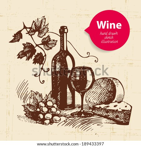 Wine vintage background with banner Hand drawn sketch illustration