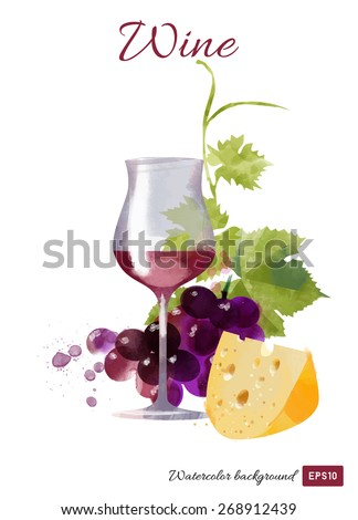 Wine watercolor vector background