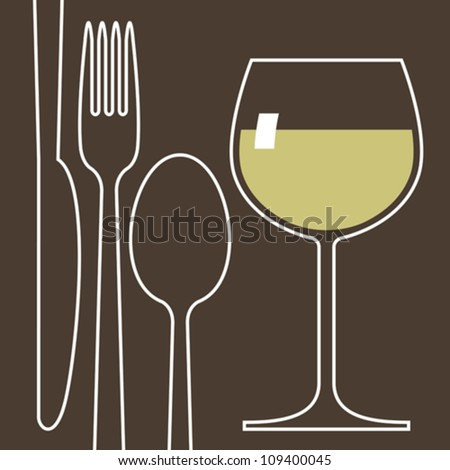 Wineglass and cutlery