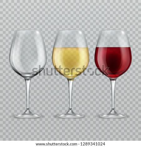 Wineglass. Empty with red and white wine in transparant wineglasses isolated glassware vector set