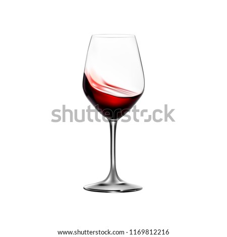 Wineglass with red wine isolated. Vector illustration.