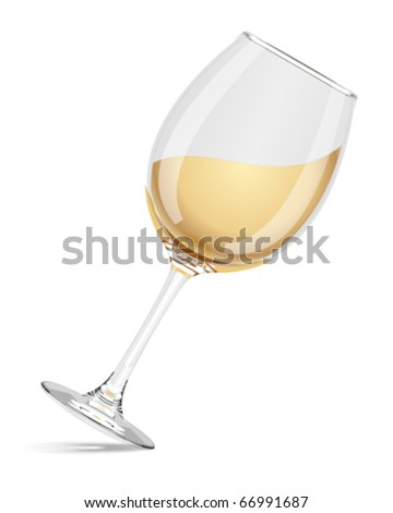 Wineglass with white wine vector