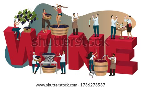 Winery concept with tiny people making and tasting wine. Vino at different stages of production: grape harvesting crushing, fermentation, aging, degustation. Poster, banner, cover. Cartoon flat vector Imagine de stoc ©