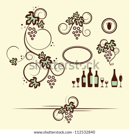 Winery design objects set. Vector illustration.