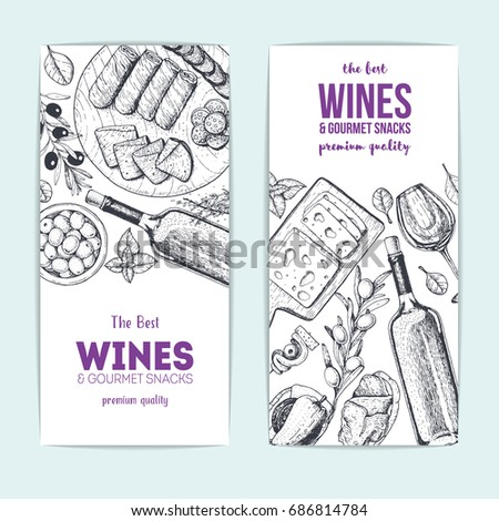 Shutterstock Wines and gourmet snacks banner collection. Gourmet food set vector illustration. Local wines and gourmet snacks shop design template, flyers set.