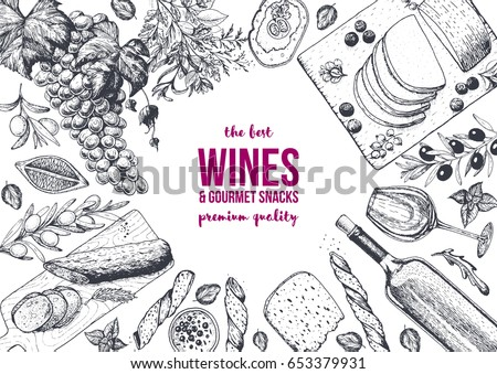 Wines and gourmet snacks frame vector illustration. Cheese, sausages, bread, foie Gras, grape hand drawn. Gourmet food set