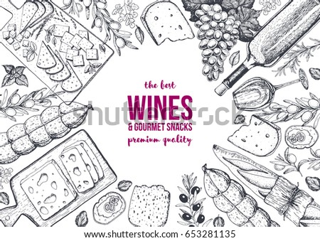 Wines and gourmet snacks frame vector illustration. Cheese, sausages, bread, grape hand drawn. Gourmet food set